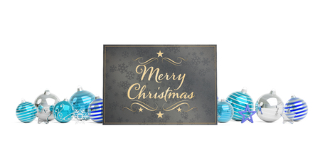 Christmas card greetings laying on blue baubles isolated on white background 3D rendering