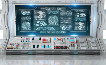 White spaceship interior in space with control panel digital screens 3D rendering Stockfoto