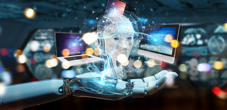 Robot on blurred background controlling modern devices interface system 3D rendering