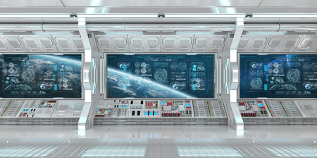 White spaceship interior in space with control panel digital screens 3D rendering Фото со стока