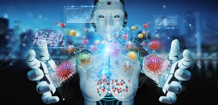 Cyborg sobre fondo borroso creando y analizando nanovirus 3D rendering