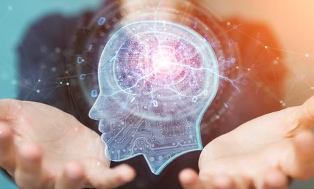 Zakenvrouw op onscherpe achtergrond die kunstmatige intelligentie 3D-rendering creëert