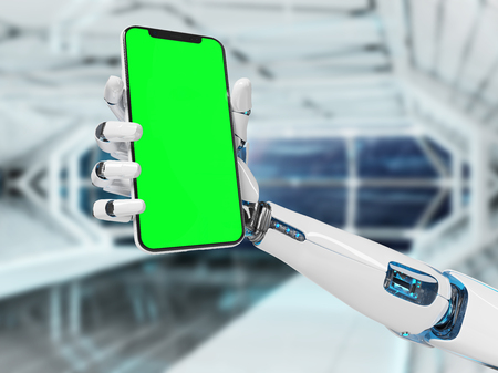 White robot hand holding modern smartphone mockup on tech background 3d rendering