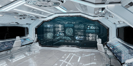 White spaceship interior in space with control panel digital screens 3D rendering Reklamní fotografie