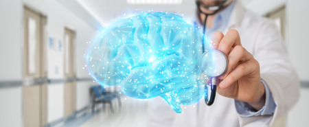 Doctor on blurred background using digital brain scan hologram 3D rendering