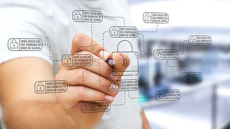Empresario de fondo borroso dibujando una interfaz de seguridad web de línea delgada