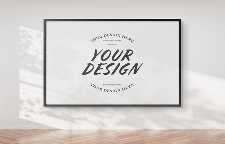Black frame hanging on a white wall mockup 3d rendering