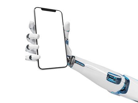 White robot hand holding modern smartphone mockup on white background 3d rendering Imagens