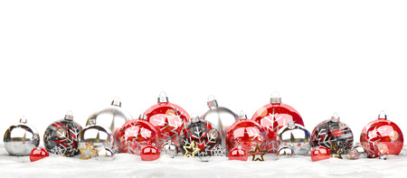 Red and silver christmas baubles isolated on white background 3D rendering