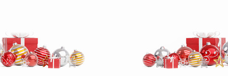 Red and white christmas baubles isolated on white background 3D rendering