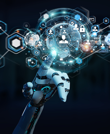 White robot hand on blurred background using digital screen interface 3D rendering Banque d'images