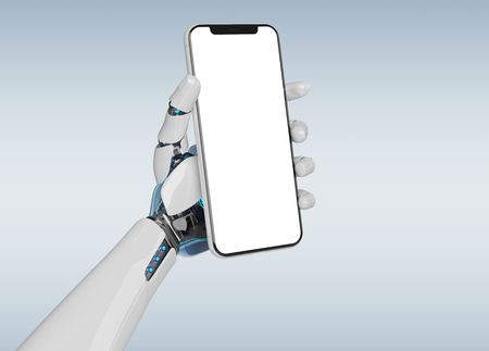 White robot hand holding modern smartphone mockup on grey background 3d rendering Banco de Imagens