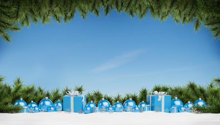 Blue christmas gifts and baubles lined up on blue background 3D rendering