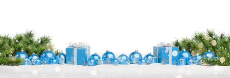 Blue christmas gifts and baubles isolated on white background 3D rendering Stock Photo