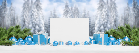 Blank Christmas card laying on blue baubles and gift on mountain background 3D rendering