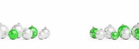 Green and white christmas baubles isolated on white background 3D rendering