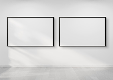 Two horizontal frames hanging on a white wall mockup 3d rendering