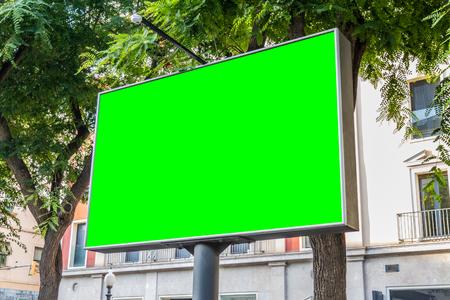Outdoor horizontal billboard with natural city landscape mockup