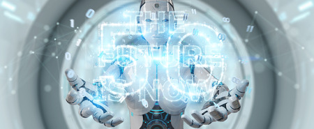 White cyborg woman on blurred background using future decision text interface 3D rendering