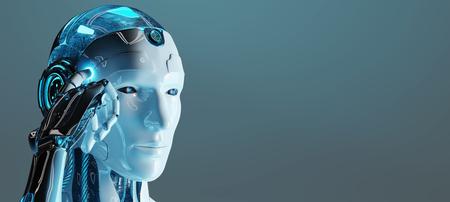 Cyborg macho blanco pensando y tocando su headon fondo azul oscuro 3D rendering