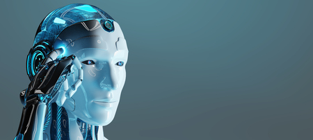 White male cyborg thinking and touching his headon dark blue background 3D rendering Stock Photo