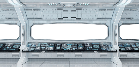 White clean spaceship interior with white background 3D rendering Foto de archivo - 114906838