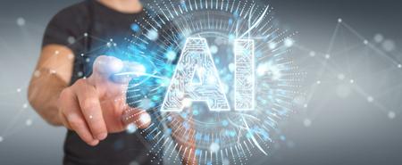 Businessman on blurred background using digital artificial intelligence icon hologram 3D rendering Stockfoto