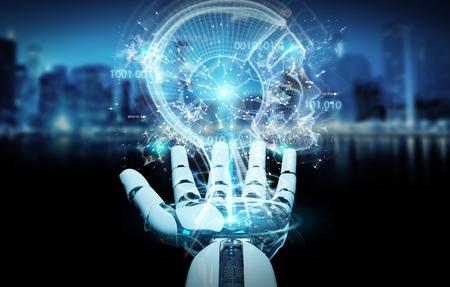 Mano cyborg blanca sobre fondo borroso creando inteligencia artificial representación 3D Foto de archivo