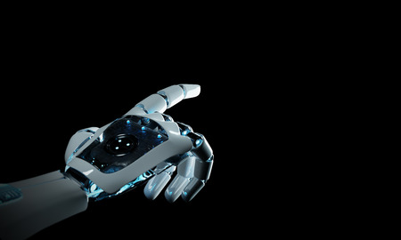 Intelligent robot machine pointing finger on dark background 3D rendering