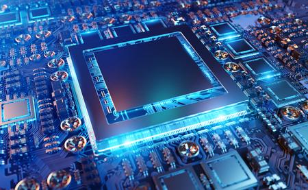 Close-up van een moderne GPU-kaart met circuit en kleurrijke lichten en details