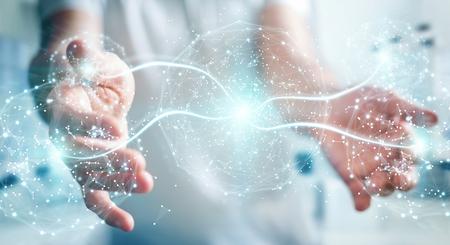 Businessman on blurred background using digital network connection sphere 3D rendering