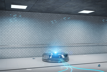 Interface hologram projector in dark underground tunnel 3d rendering Stockfoto