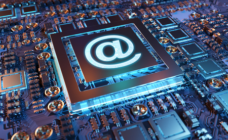 Close-up view of a modern GPU card circuit with Email icon 3D rendering Stock Photo