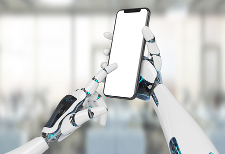 White robot hand holding modern smartphone mockup on office background 3d rendering