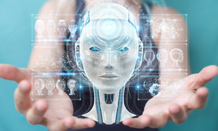 Businesswoman on blurred background using digital artificial intelligence interface 3D rendering Stock Photo