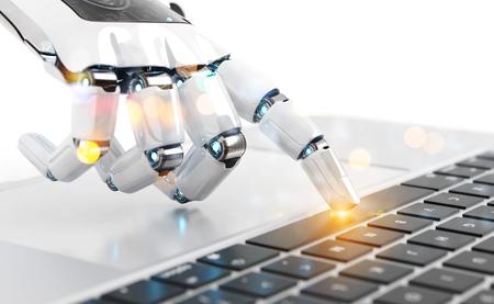 White robot cyborg hand pressing a keyboard on a laptop 3D rendering 免版税图像 - 115797085