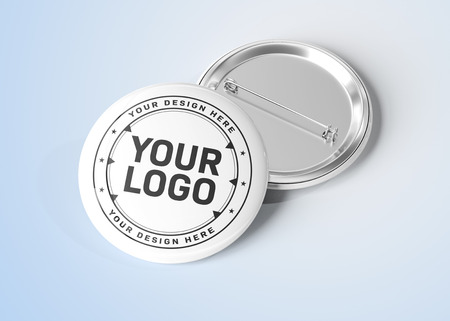 A mockup of a badge on blue grey background 3D rendering Archivio Fotografico