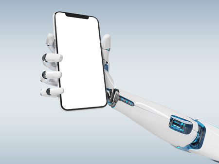 White robot hand holding modern smartphone mockup on grey background 3d rendering 스톡 콘텐츠