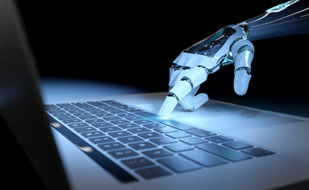 Cyborg hand pressing a keyboard on a laptop in dark blue background 3D rendering