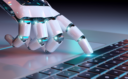 Robotic cyborg hand pressing a keyboard on a laptop 3D rendering Stock Photo