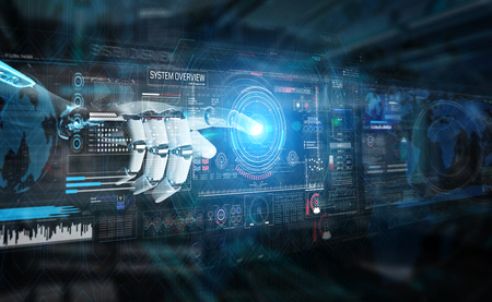 Intelligent robot machine using digital screens interface with his hands 3D rendering