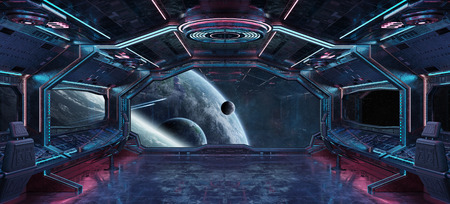 Grunge Spaceship blue and pink interior with view on distant planets system 3D rendering