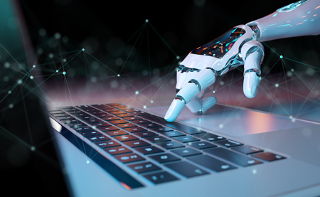 Robotic cyborg hand pressing a keyboard on a laptop 3D rendering Stok Fotoğraf