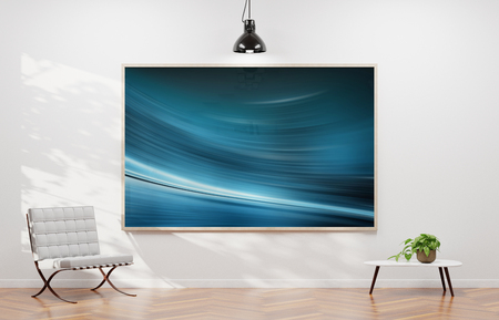 Large horizontal frame hanging on a white wall in contemporary 3D rendering
