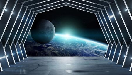 Huge blueish hall spaceship interior 3D rendering Фото со стока