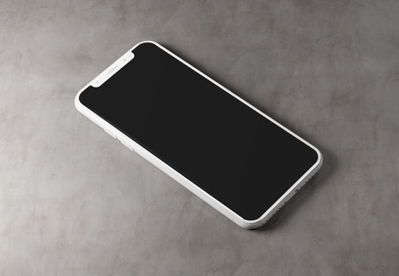 White modern smartphone mockup isolated on concrete background 3D rendering