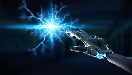 Máquina robot inteligente que crea electricidad con sus manos renderizado 3D