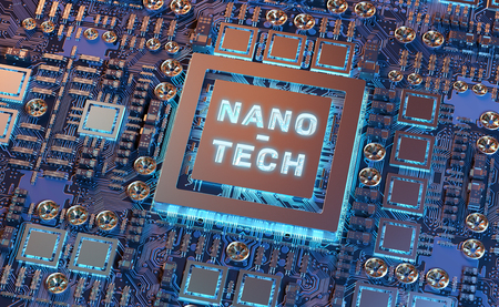 Close-up view on a colorful nanotechnology electronic system 3D rendering Stock Photo