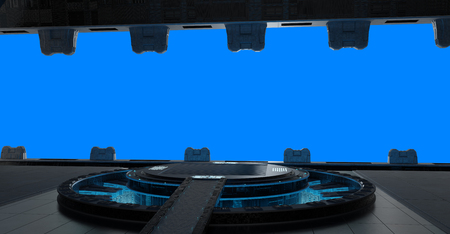 Huge blueish landing strip spaceship interior isolated on blue background 3D rendering