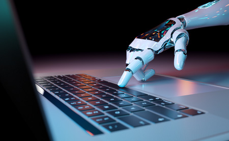 Robotic cyborg hand pressing a keyboard on a laptop 3D rendering Фото со стока
